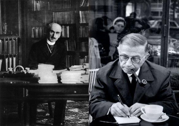 ژان پل سارتر نوشتن در کافه