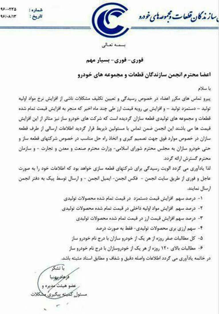 نامه انجمن قطعهسازان برای افزایش قیمت محصولات