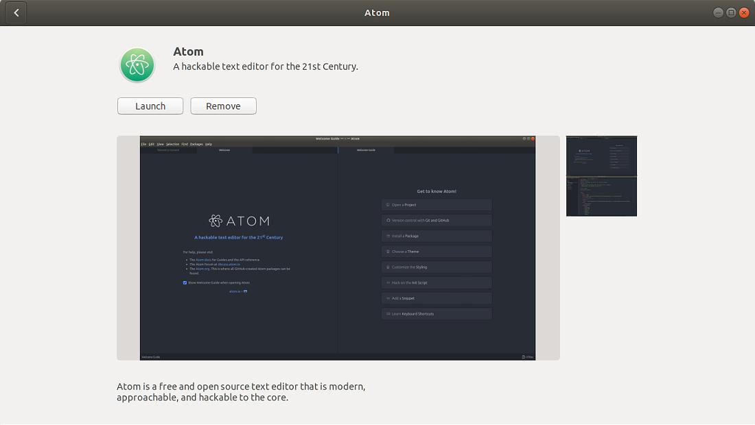 نرمافزارهای اوبونتو اسنپ اتم Snap store Atom Editor