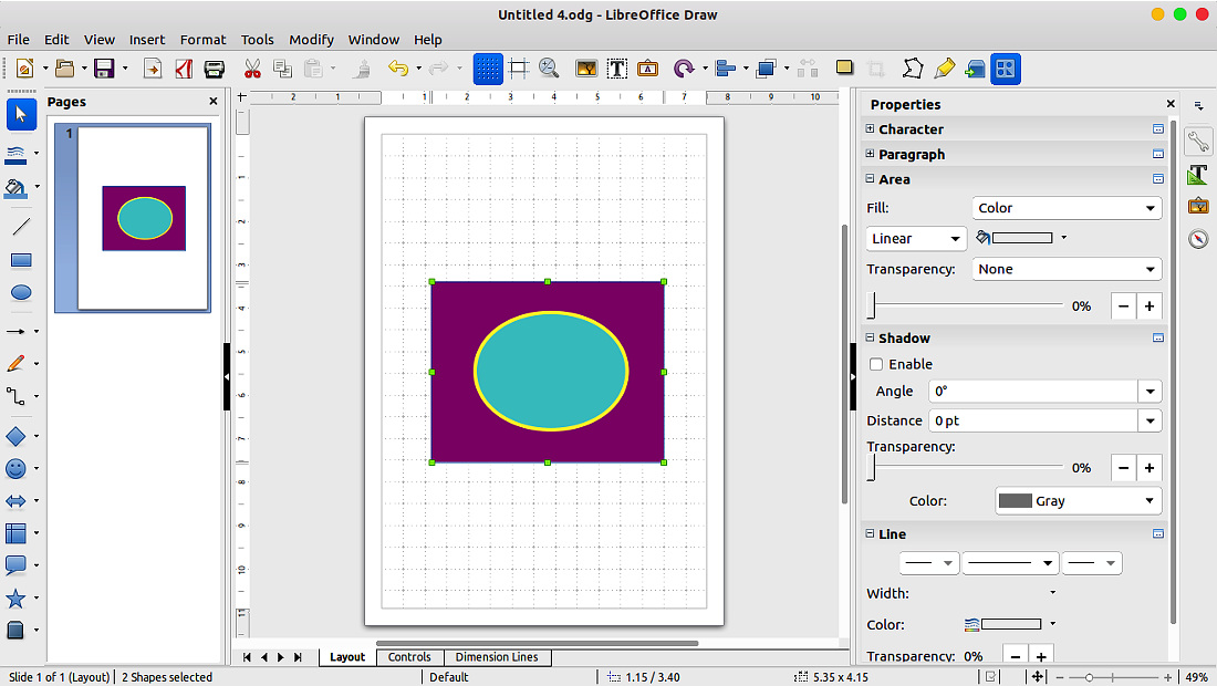 نرمافزارهای اوبونتو لیبرهآفیس درو LibreOffice Draw