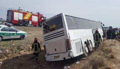واژگونی یک دستگاه اتوبوس در محور شیراز به دشت ارژن