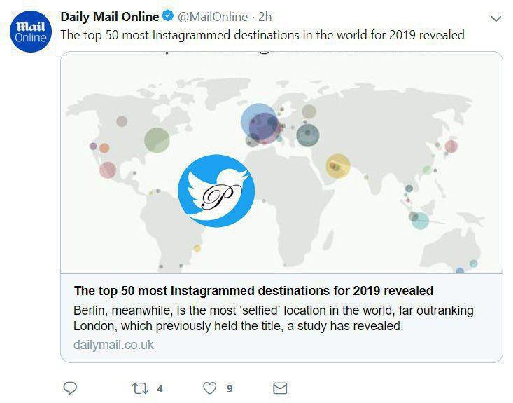 ۵۰ مکان «اینستاگرام شده» جهان در سال ۲۰۱۹
