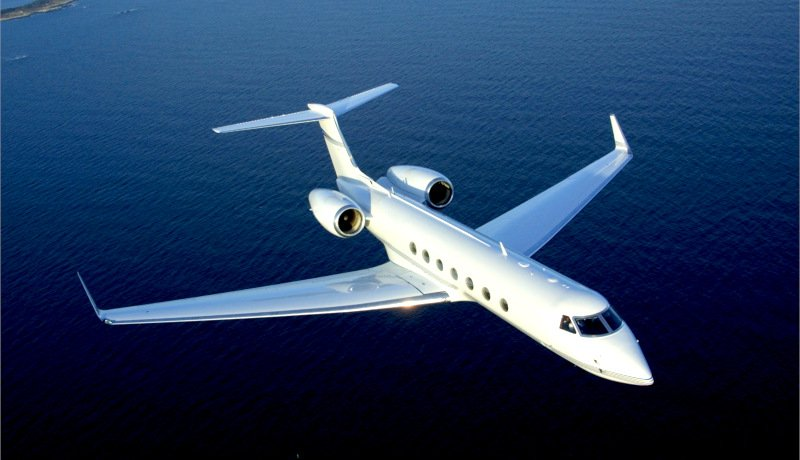 private jet on sea