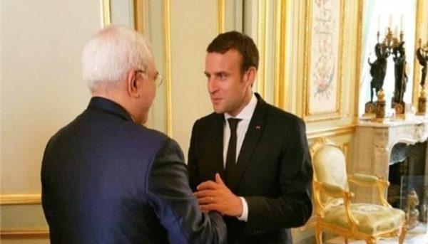 ظریف با مکرون در پاریس رایزنی کرد