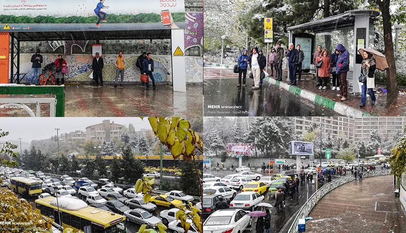 اولین تصاویر از ترافیک برفی در تهران