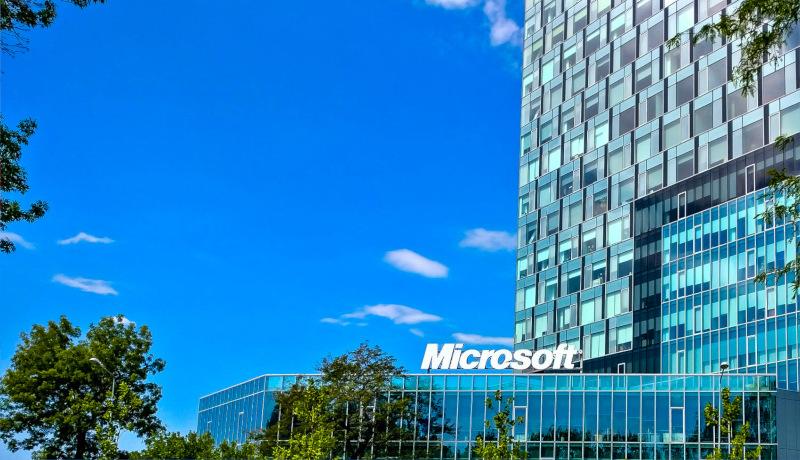 نام مایکروسافت روی ساختمان