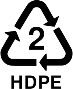 HDPE resin indentification number 2
