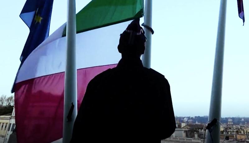 یک دقیقه سکوت قربانیان ویروس کرونا ایتالیا